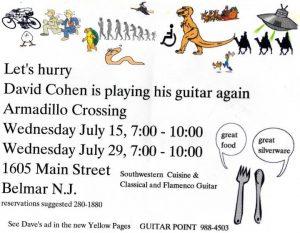 David Cohen Classical Guitar gig flyer circe 1989 Belmar, New Jersey