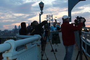 David Cohen Bagpipes - Philadelphia Lung Force Walk- CBS 3 Ben Franklin Bridge