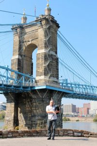 David Cohen Bagpipes Roebling Suspension Bridge Covington, Kentucky 2014