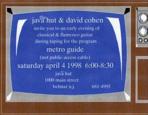 David Cohen guitar Concert Flyer Belmar, New Jersey 1998