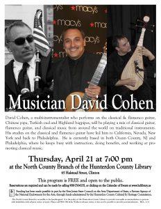 David Cohen guitar Concert Flyer Hunterdon County, New Jersey 2011