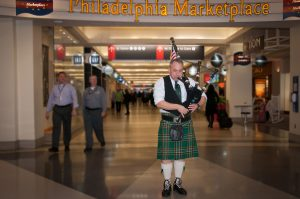 St. Patrick's Day Philadelphia International Airport David Cohen Bagpipes 2014