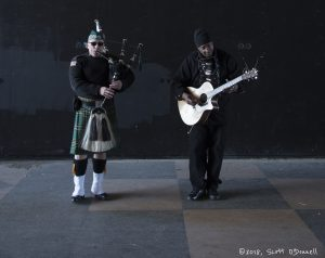 Asbury Park, NJ March 11, 2018 St. Patrick's Day Parade. David Cohen Bagpipes w/Jules